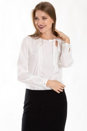 Elegancka bluzka z dekoracyjnym wiązaniem 159B18WHOFF – Greenpoint